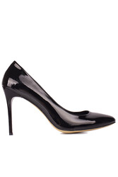 Fitbas 111500 020 Kadın Siyah Rugan Büyük & Küçük Numara Stiletto - Thumbnail
