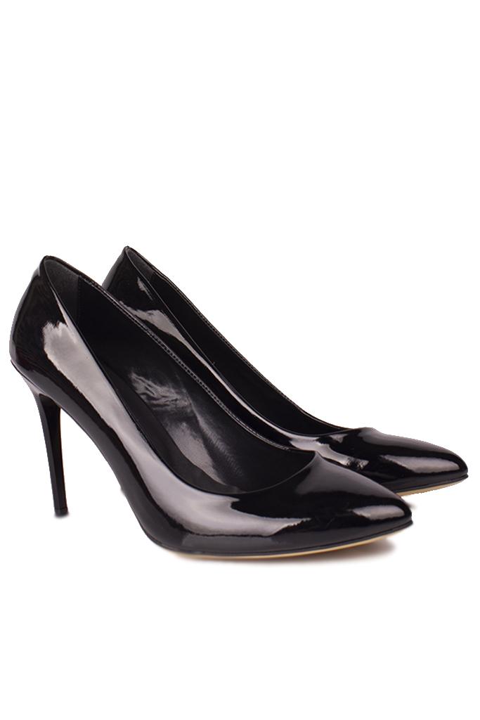 Fitbas 111500 020 Kadın Siyah Rugan Büyük & Küçük Numara Stiletto