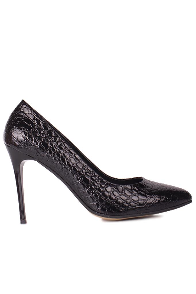 Fitbas 111500 024 Kadın Siyah Rugan Büyük & Küçük Numara Stiletto