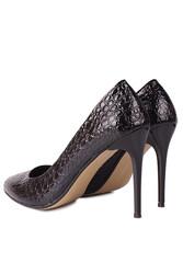 Fitbas 111500 024 Kadın Siyah Rugan Büyük & Küçük Numara Stiletto - Thumbnail