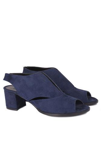 Fitbas - Fitbas 111606 427 Kadın Lacivert Süet Topuklu Büyük & Küçük Numara Sandalet (1)