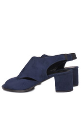 Fitbas 111606 427 Kadın Lacivert Süet Topuklu Büyük & Küçük Numara Sandalet - Thumbnail