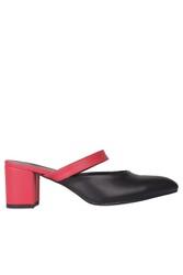 Fitbas 111629 524 Kadın Kırmızı Siyah Büyük & Küçük Numara Terlik - Thumbnail