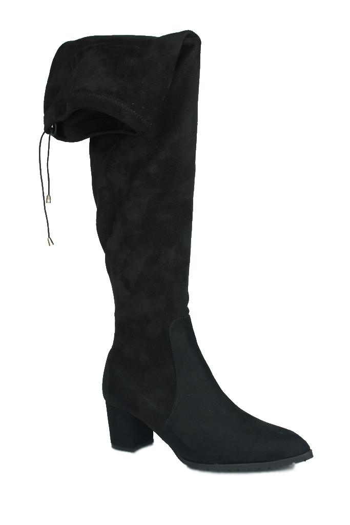 Fitbas 111731 008 Kadın Siyah Sivri Burun Streç Büyük Küçük Numara Çizme