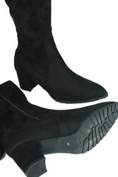 Fitbas 111731 008 Kadın Siyah Sivri Burun Streç Büyük Küçük Numara Çizme - Thumbnail