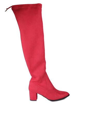 Fitbas - Fitbas 111731 527 Kadın Kırmızı Sivri Burun Streç Büyük Küçük Numara Çizme (1)