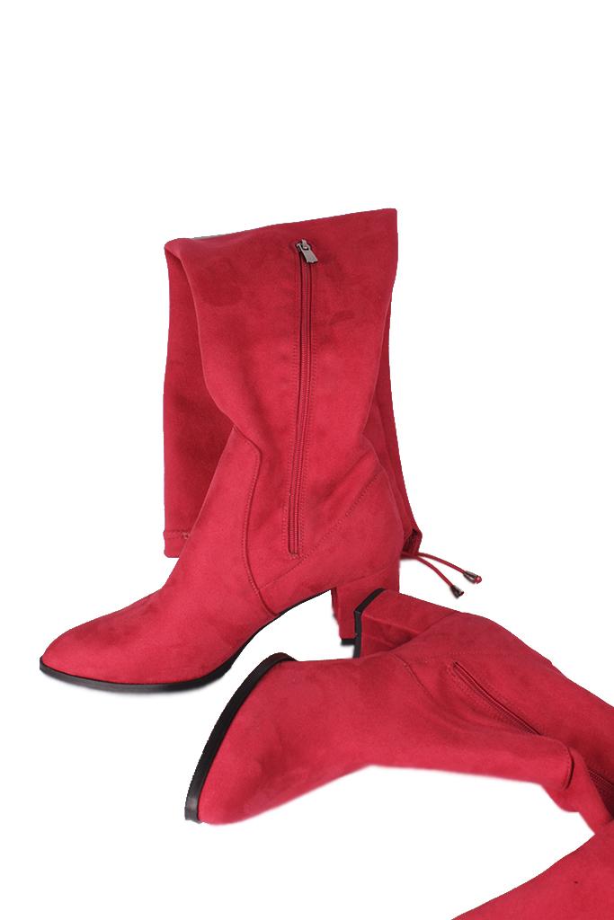 Fitbas 111731 527 Kadın Kırmızı Sivri Burun Streç Büyük Küçük Numara Çizme