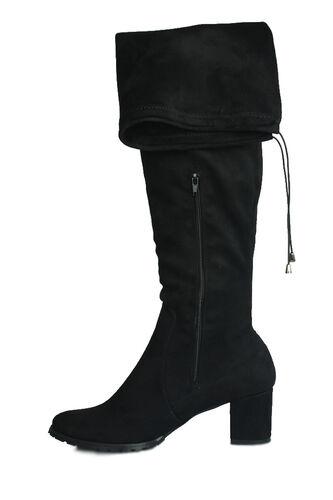Fitbas - Fitbas 111741 008 Kadın Siyah Küt Burun Streç Büyük Küçük Numara Çizme (1)