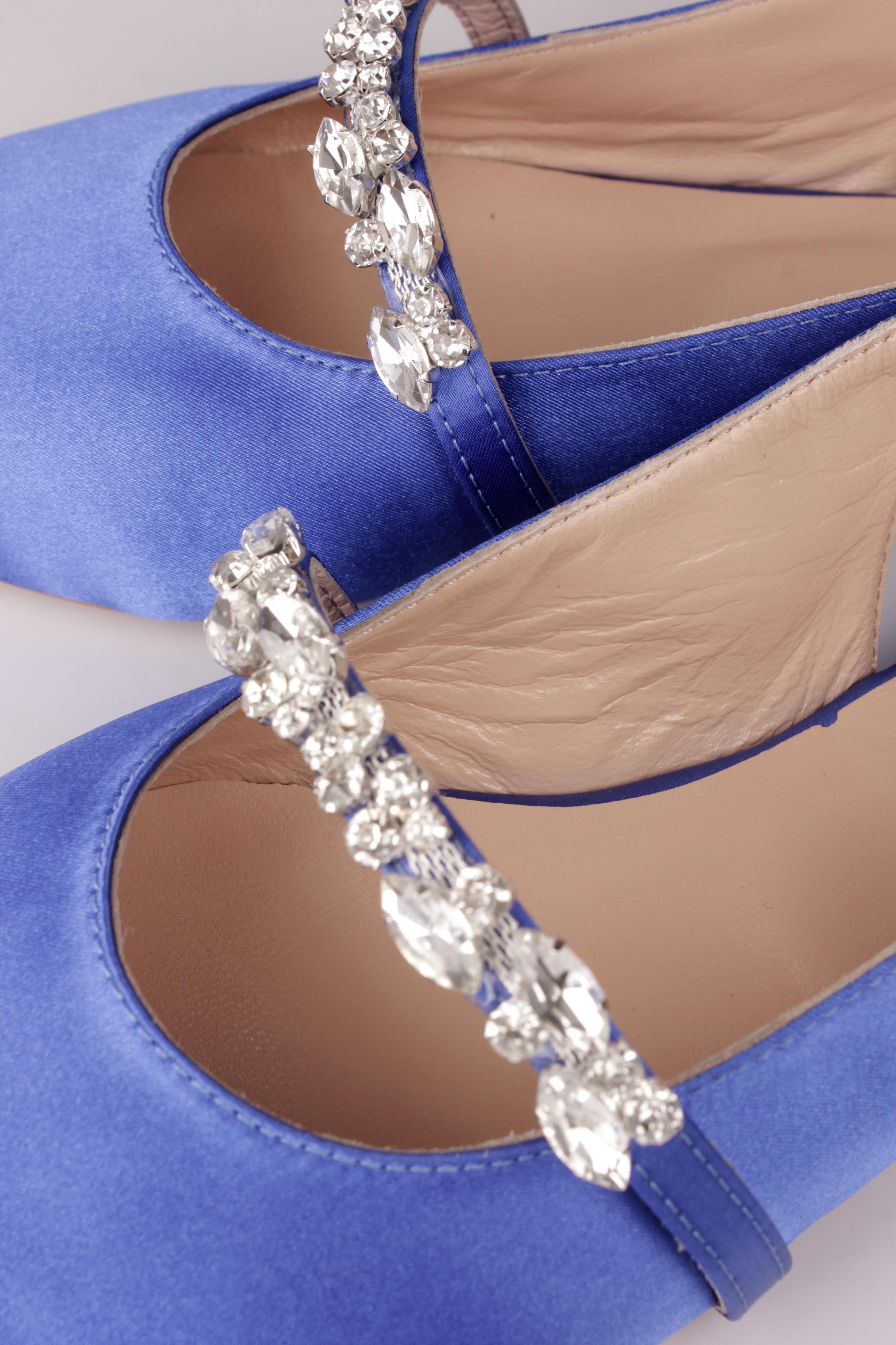 Fitbas 112030 421 Kadın Mavi Saten Büyük & Küçük Numara Taşlı Babet