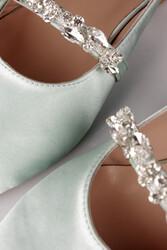 Fitbas 112030 671 Kadın Mint Saten Büyük & Küçük Numara Taşlı Babet - Thumbnail