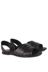 Fitbas 112111 014 Kadın Siyah Büyük Numara Sandalet - Thumbnail