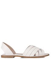 Fitbas 112111 468 Kadın Beyaz Büyük Numara Sandalet - Thumbnail