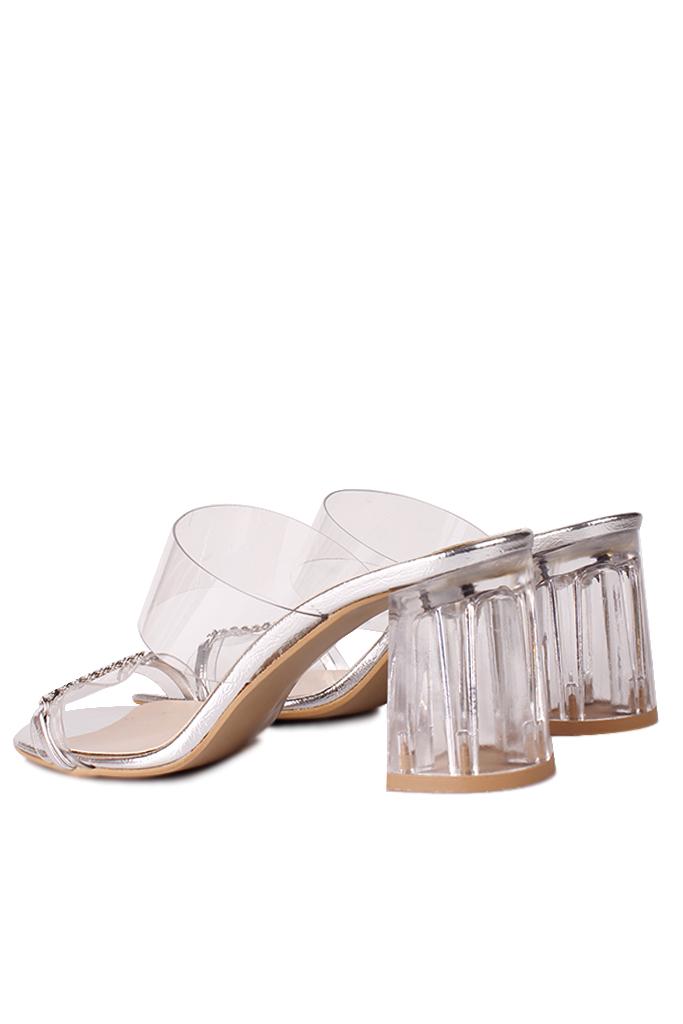 Fitbas 112153 771 Kadın Gümüş Topuklu Büyük & Küçük Numara Terlik