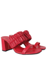 Fitbas 112155 524 Kadın Kırmızı Topuklu Büyük & Küçük Numara Terlik - Thumbnail