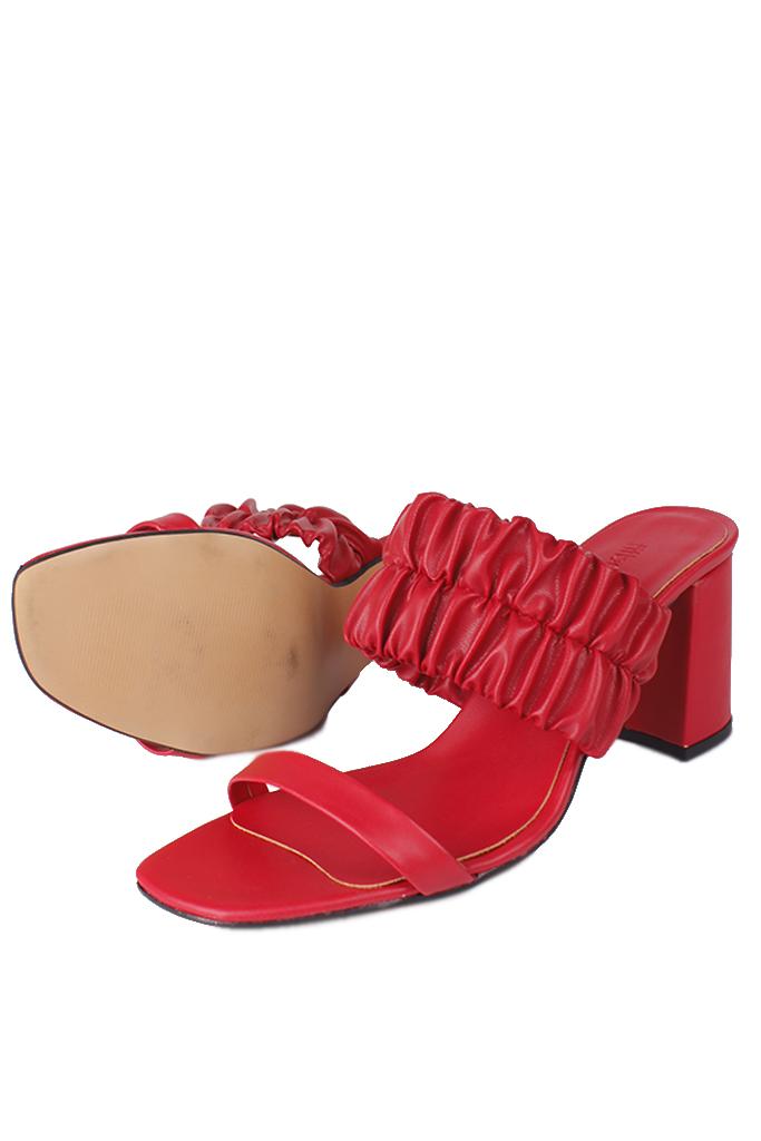 Fitbas 112155 524 Kadın Kırmızı Topuklu Büyük & Küçük Numara Terlik