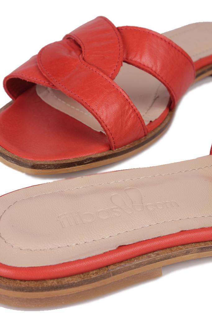 Fitbas 112621 524 Kadın Kırmızı Büyük Numara Terlik