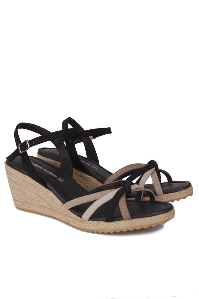 Fitbas 1314 008 Kadın Siyah Süet Büyük & Küçük Numara Sandalet