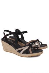 Fitbas 1314 008 Kadın Siyah Süet Büyük & Küçük Numara Sandalet - Thumbnail