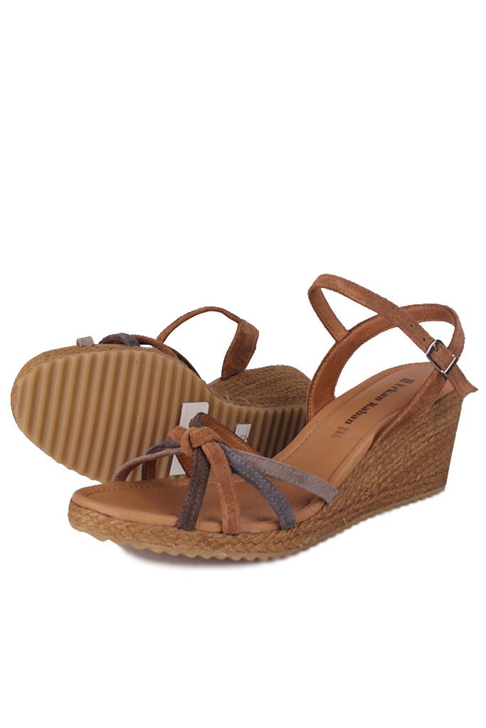 Fitbas 1314 169 Kadın Taba Süet Büyük & Küçük Numara Sandalet