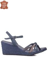 Fitbas 1314 423 Kadın Mavi Süet Büyük & Küçük Numara Sandalet - Thumbnail