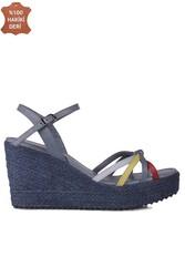 Fitbas 1315 424 Kadın Mavi Büyük & Küçük Numara Sandalet - Thumbnail