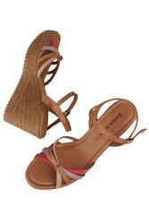 Fitbas 1315 701 Kadın Taba Büyük & Küçük Numara Sandalet - Thumbnail