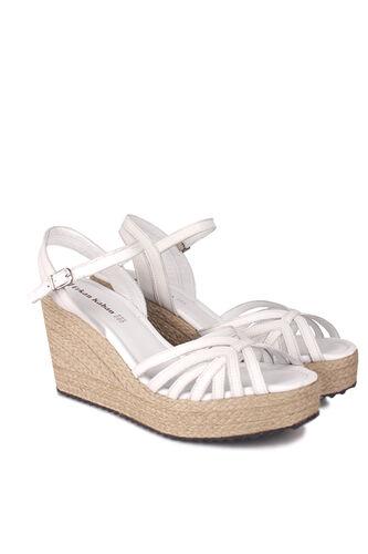 Fitbas - Fitbas 4389 468 Kadın Beyaz Büyük & Küçük Numara Sandalet (1)
