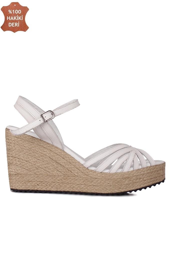Fitbas 4389 468 Kadın Beyaz Büyük & Küçük Numara Sandalet