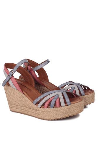 Fitbas - Fitbas 4389 706 Kadın Mavi Kırmızı Büyük & Küçük Numara Sandalet (1)