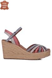 Fitbas 4389 706 Kadın Mavi Kırmızı Büyük & Küçük Numara Sandalet - Thumbnail