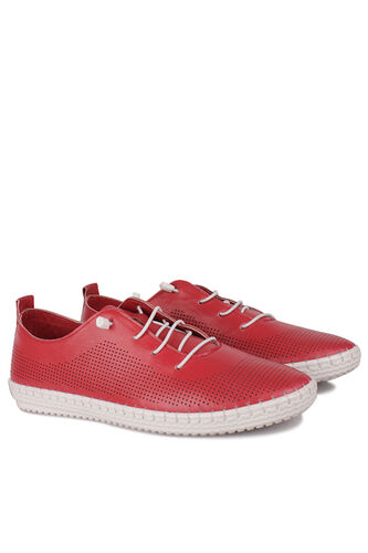 Fitbas - Fitbas 625040 524 Kadın Kırmızı Deri Günlük Büyük Numara Ayakkabı (1)