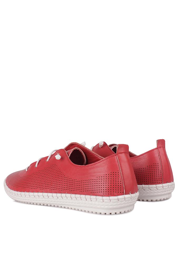 Fitbas 625040 524 Kadın Kırmızı Deri Günlük Büyük Numara Ayakkabı