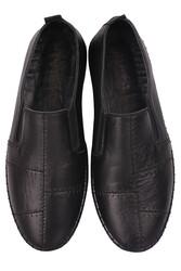 Fitbas 625051 014 Kadın Siyah Deri Günlük Büyük Numara Ayakkabı - Thumbnail