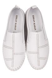 Fitbas 625051 468 Kadın Beyaz Deri Günlük Büyük Numara Ayakkabı - Thumbnail