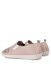 Fitbas 625052 724 Kadın Pudra Deri Günlük Büyük Numara Ayakkabı - Thumbnail