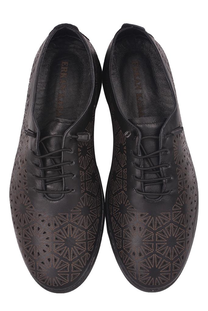 Fitbas 625115 014 Kadın Siyah Deri Günlük Büyük Numara Ayakkabı