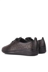 Fitbas 625115 014 Kadın Siyah Deri Günlük Büyük Numara Ayakkabı - Thumbnail