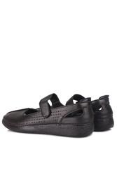 Fitbas 625118 014 Kadın Siyah Deri Günlük Büyük Numara Ayakkabı - Thumbnail