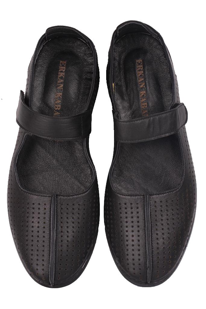 Fitbas 625118 014 Kadın Siyah Deri Günlük Büyük Numara Ayakkabı