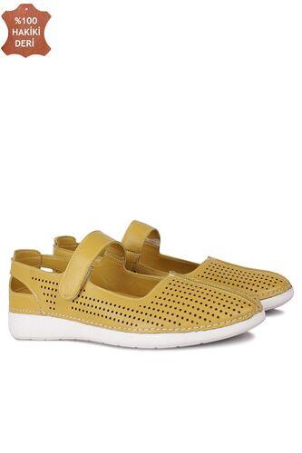 Fitbas 625118 124 Kadın Sarı Deri Günlük Büyük Numara Ayakkabı