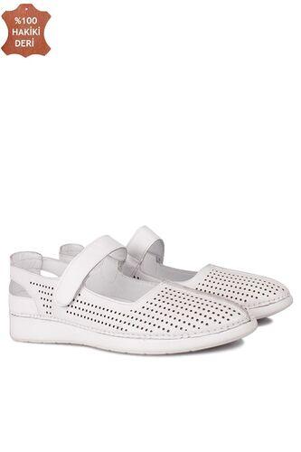 Fitbas 625118 468 Kadın Beyaz Deri Günlük Büyük Numara Ayakkabı