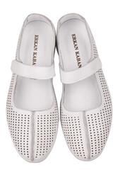 Fitbas 625118 468 Kadın Beyaz Deri Günlük Büyük Numara Ayakkabı - Thumbnail