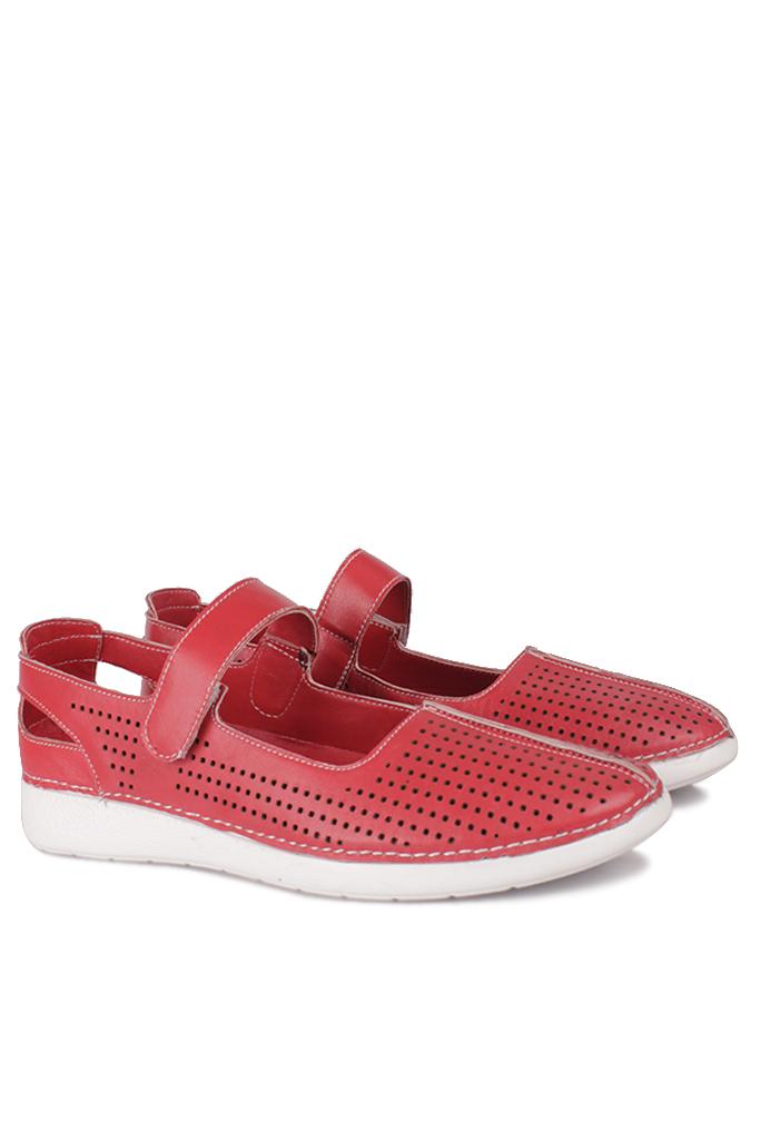 Fitbas 625118 524 Kadın Kırmızı Deri Günlük Büyük Numara Ayakkabı