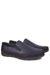 Fitbas 914356 415 Erkek Siyah Lacivert Deri Büyük Numara Ayakkabı - Thumbnail