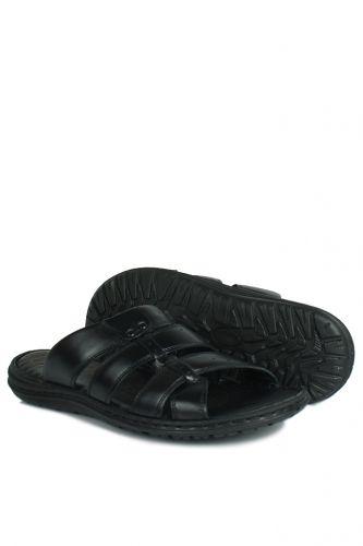 Fitbas - Fitbas 850179 014 Erkek Siyah Hakiki Deri Büyük Numara Terlik (1)