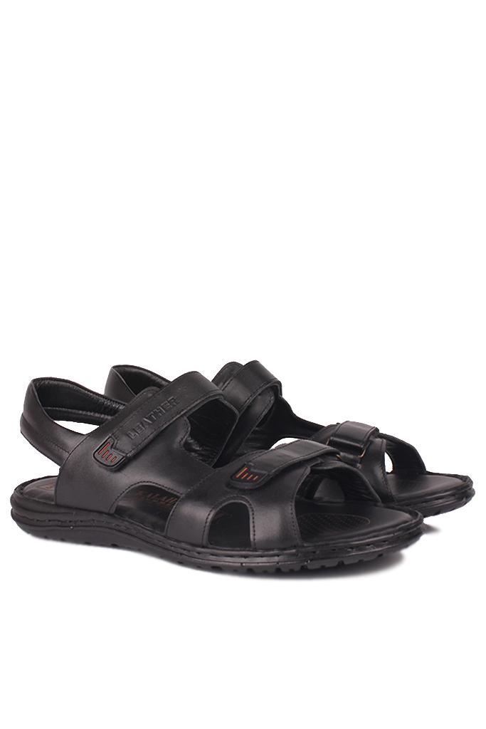 Fitbas 850186 014 Erkek Siyah Hakiki Deri Büyük Numara Sandalet
