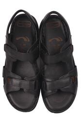 Fitbas 850186 014 Erkek Siyah Hakiki Deri Büyük Numara Sandalet - Thumbnail