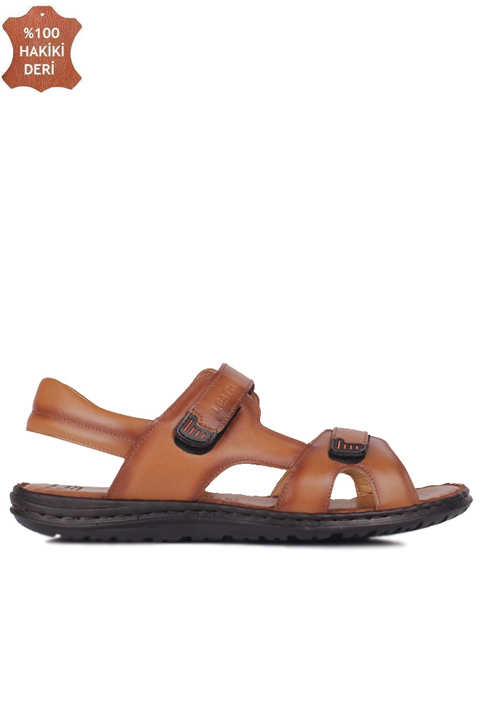Fitbas 850186 167 Erkek Taba Hakiki Deri Büyük Numara Sandalet