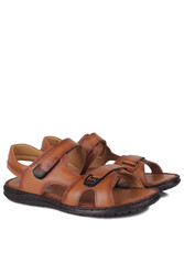 Fitbas 850186 167 Erkek Taba Hakiki Deri Büyük Numara Sandalet - Thumbnail