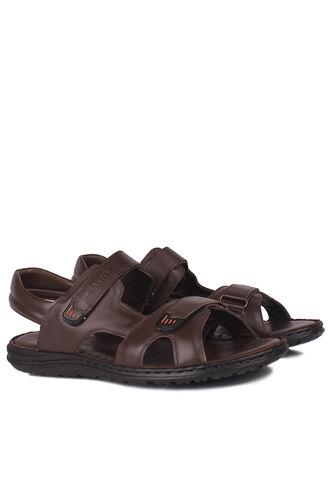 Fitbas - Fitbas 850186 232 Erkek Kahve Hakiki Deri Büyük Numara Sandalet (1)